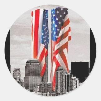 Recuerde 9/11 etiqueta redonda