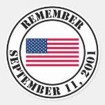 Recuerde 9/11 pegatina redonda