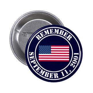 Recuerde 9/11 pin redondo de 2 pulgadas