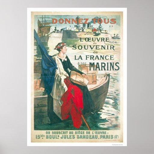 Recuerde a nuestros marineros franceses - francese póster