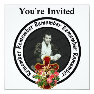 """Recuerde amó un círculo del marco añaden su foto invitación 5.25"""" x 5.25"""""""