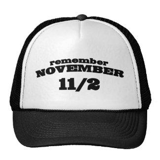 Recuerde el 11 /2 de noviembre gorras de camionero