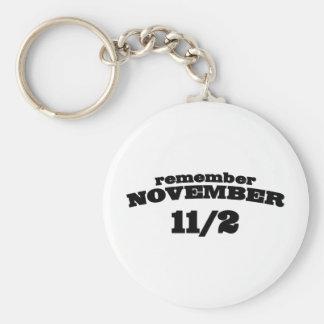 Recuerde el 11 /2 de noviembre llavero redondo tipo pin