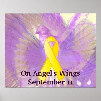 Recuerde el 11 de septiembre en las alas del ángel póster