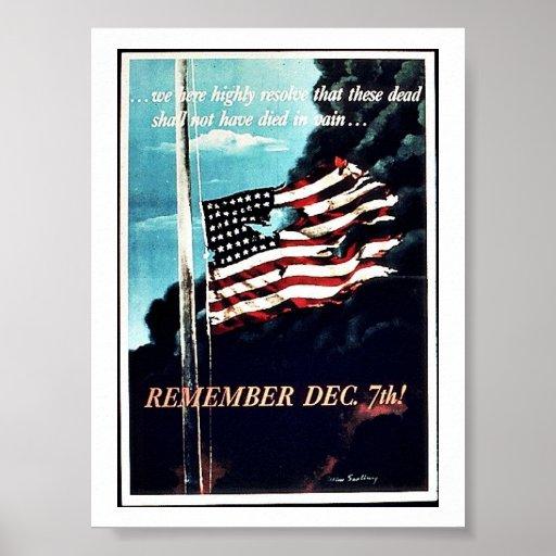 Recuerde el 7 de diciembre póster