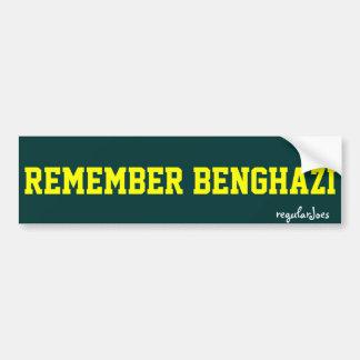 Recuerde el bumpersticker de Bengasi por los regul Etiqueta De Parachoque