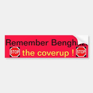 Recuerde el bumpersticker de Bengasi por los regul Pegatina Para Auto