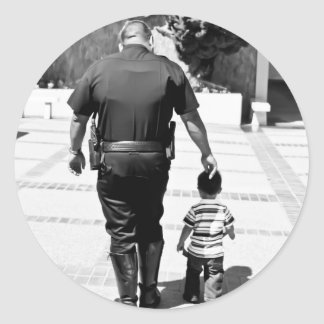 Recuerde el cuidado de los polis pegatina redonda