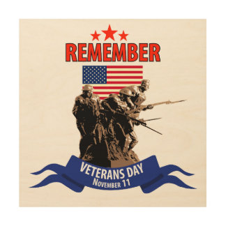 Recuerde el día de veteranos impresión en madera