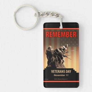 Recuerde el día de veteranos llavero rectangular acrílico a una cara