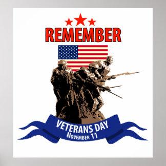 Recuerde el día de veteranos póster