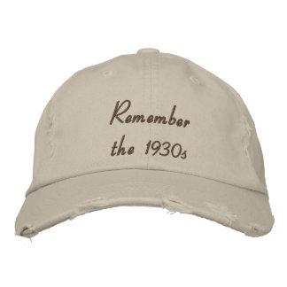Recuerde el gorra bordado los años 30 gorra de beisbol