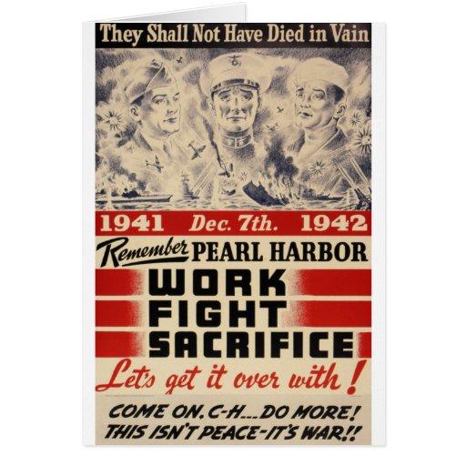 Recuerde el Pearl Harbor Tarjetas
