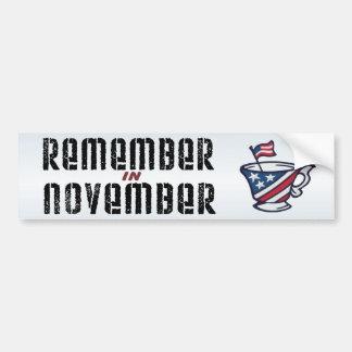 Recuerde en noviembre a la fiesta del té pegatina para auto