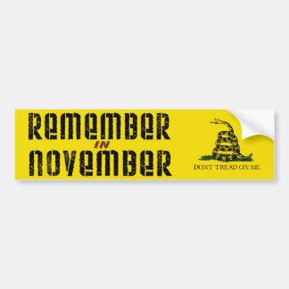 Recuerde en noviembre pegatina para auto