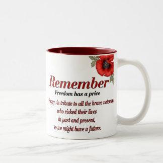 Recuerde la amapola taza de café