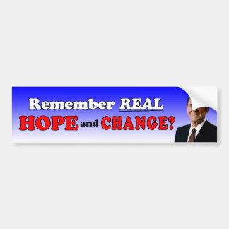 ¿Recuerde la esperanza real y cambie? Etiqueta De Parachoque