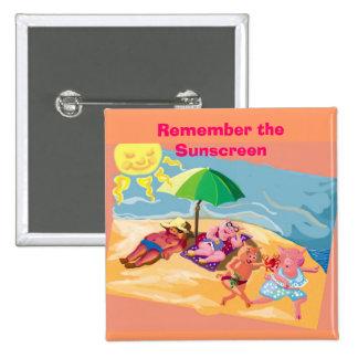 Recuerde la protección solar pin cuadrado