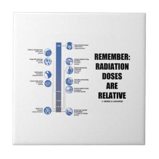 Recuerde: Las dosis de radiación son la física Azulejo Cuadrado Pequeño