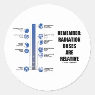 Recuerde: Las dosis de radiación son relativas Pegatina Redonda