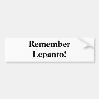 ¡Recuerde Lepanto! Pegatina De Parachoque