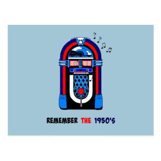 Recuerde los años 50, máquina tocadiscos americana postales