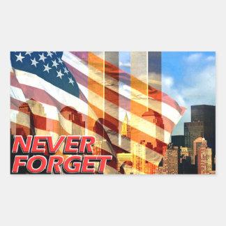 Recuerde los attentados terroristas del 11 de pegatina rectangular