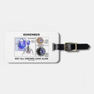 Recuerde no toda la virología idéntica de los etiquetas para maletas