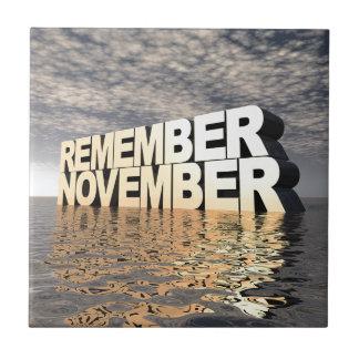 Recuerde noviembre azulejo cuadrado pequeño