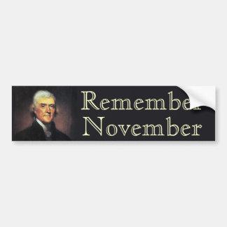 Recuerde noviembre Thomas Jefferson Pegatina Para Coche