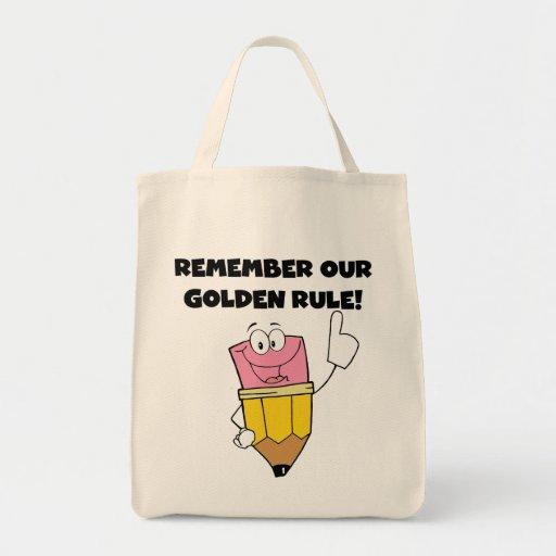 Recuerde nuestra norma de oro bolsas de mano