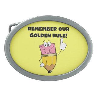 Recuerde nuestra norma de oro hebilla de cinturon oval