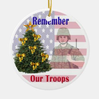 Recuerde nuestro ornamento del día de fiesta de adorno navideño redondo de cerámica