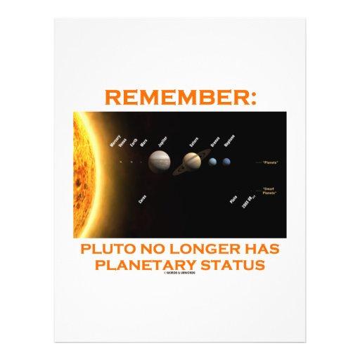 Recuerde: Plutón tiene no más situación planetaria Tarjetón