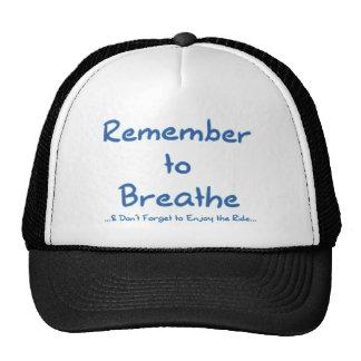 Recuerde respirar (el azul) gorro de camionero