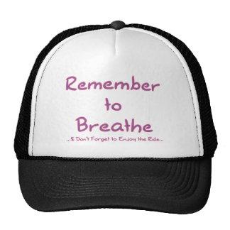 Recuerde respirar (el rosa) gorros