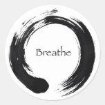 ¡Recuerde respirar! Etiqueta Redonda