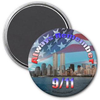 Recuerde siempre 9 11 imán para frigorífico