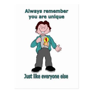 Recuerde siempre que usted es único postales