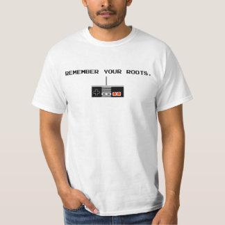 Recuerde su camisa del videojugador de las raíces