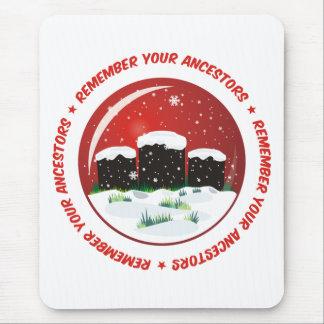 Recuerde su globo de la nieve de los antepasados alfombrillas de ratón