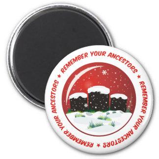 Recuerde su globo de la nieve de los antepasados imán redondo 5 cm