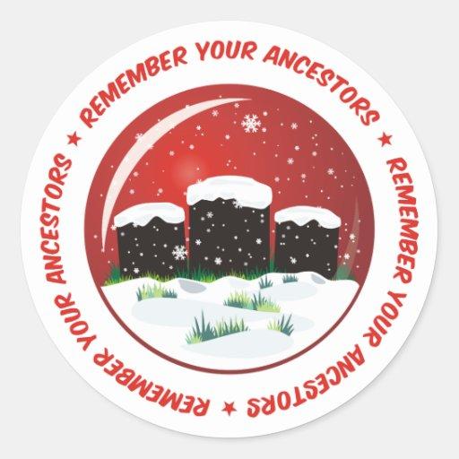 Recuerde su globo de la nieve de los antepasados etiquetas redondas