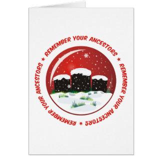 Recuerde su globo de la nieve de los antepasados tarjeta de felicitación