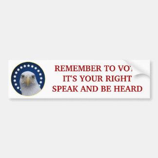 Recuerde votar, él su correcto pegatina para auto