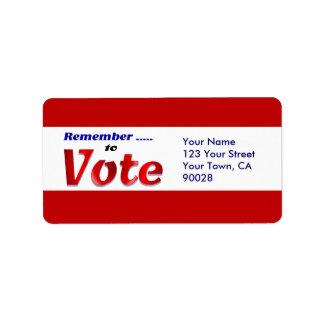 recuerde votar etiqueta de dirección