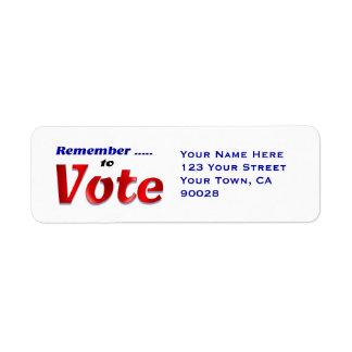 Recuerde votar etiqueta de remitente