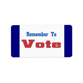 Recuerde votar etiquetas de dirección