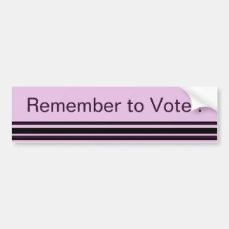 Recuerde votar pegatina para auto