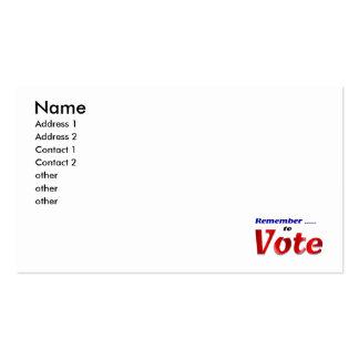Recuerde votar tarjetas personales